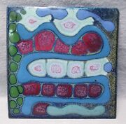 Amazing Vintage Abstract/Biomorphic Glazed Art Studio PotteryTile