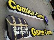 Comics Cards Game Center And Mythical Realms Lighted Store Sign