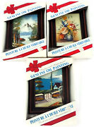 Set Of 3 Miniature Framed Genuine Oil Paintings Hand Painted Highly Detailed