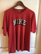 Nike Vtg Block Letter T-shirt Red Thin Distressed Gray/white Shadow 1980and039s Rare