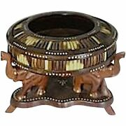 Unique 19th Century Anglo-indian Wood Quill Bowl Supported By Elephant Stand