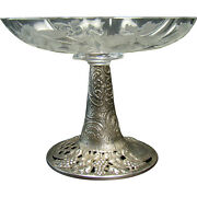 Cut Glass And Sterling Repoussé German Candy Dish - 1900's