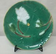 """19th C. ENGLISH J. HOLDCROFT MAJOLICA ART POTTERY WATER LILY 8.25"""" PLATE"""