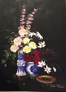 Chandler Terry-midnight Bouquet-floral-art For Sale