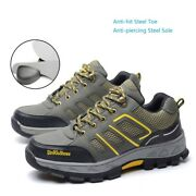 Menand039s Construction Breathable Working Safety Shoes Steel Toe Sole Boots Us Stock