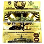 2 99.9 24k Gold 100 Bills Both Styles Us Banknotes In Protective Sleeves Lot