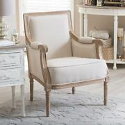Traditional French Accent Chair Furniture Wood Cotton Distressed Finish Chair