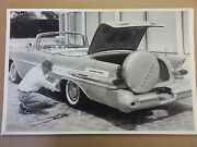 1957 Pontiac Convertible 3/4 View Tire Change 12 X 18 Black And White Picture