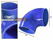 3.5 Silicone Hose/intake/intercooler Pipe Elbow Coupler Blue For Cadillac