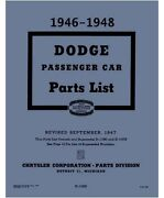 Illustrated Factory Parts Manual For 1946-1948 Dodge Passenger Cars