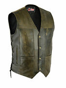 Mens Motorcycle 10 Pocket Distressed Brown Leather Waistcoat Vest With Side Lace