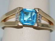 14k Gold Ring With Blue Topazdecember Birthstone And Diamonds