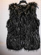 Nicole By Nicole Miller S / Small Faux Fur Black And Silver Vest Free Shpg Nwta