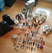 Vintage Star Wars Lot Figures Weapons Vehicles At- At Falcon Diecast Cases