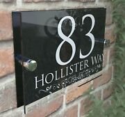 Personalised House Sign Door Numbers Street Address Plaques Modern Glass