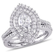 Amour 1 Ct Tw Marquise Halo Diamond Bridal Set In 14k White Gold
