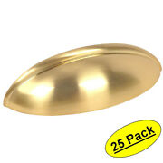 25 Pack Cosmas Cabinet Hardware Brushed Brass Bin Cup Handle Pulls 1399bb