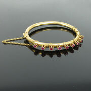 Antique 2.0ct Ruby And 14k Yellow Gold Hand Made High Set Hinged Bangle