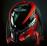 New Item Awesome Predator Helmet Motorcycle Dot Approved Isle Of Man Red Ferrari
