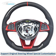 Carbon Fiber + Leather Customized Steering Wheel W/ Shift Paddles For Benz W205