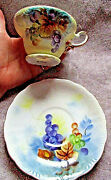 Yellow Cream Lefton China Gold Trim Embossed Grapes Leaves Japan Teacup And Saucer