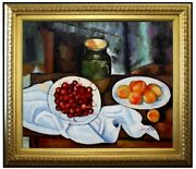 Framed Hand Painted Oil Painting Repro Paul Cezanne Cherries And Peaches 20x24in