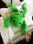 Extremely Rare Ty Beanie Baby Original Legs Frog Tag Errors- Dob Numerical
