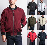 New Menand039s Light Weight Bomber Jacket Flight Military Air Force Ma-1 Jk752-i8d