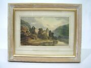 19th Century Moody English Watercolor Of Gothic Ruins By A River