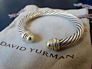 David Yurman Cable Classics 14ky Gold And Sterling Silver Cuff Bracelet 6.5 Mm 6