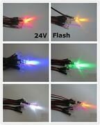 5mm 24v Flash Flashing Red Yellow Blue Green White Orange Pre-wired Led Leds New