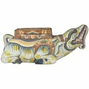 Large Indonesian Carved Colorful Wood Mythical Animal Figural Box