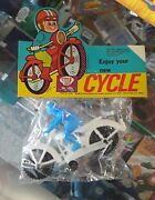 Dime Store Toy Plastic Motorcycle Rider Hong Kong 1970s Nos Vintage Cycle -blue