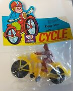 Dime Store Toy Plastic Motorcycle Rider Hong Kong 1970s Nos Vintage Cycle Yellow
