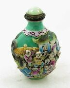 Antique Chinese Snuff Bottle Famille Verte Signed