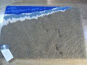 Hand Made New Zealand Wool Beach Themed Area Rug - Footprints In The Sand