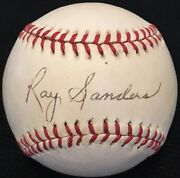 Only Known Ray Sanders D83 Jsa Loa Signed Baseball 1942 1944 St. Louis Cardinals