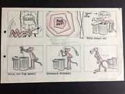 """""""pink Panther"""" 1960's Original Storyboard Hand Drawn And Signed By Friz Freleng"""