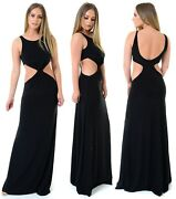 Ladies Cut Out Maxi Dress Front Twist With Cut Out Fully Lined Long Black Dress