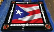 Puerto Rican Flag Domino Table With Bacardi Cup Holders By Domino Tables By Art
