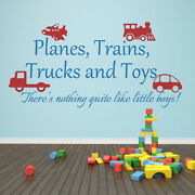 Playroom Wall Decal Planes Trains Trucks And Toys Boy Quote Baby Vinyl Art Decor