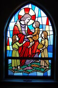 + Nice Stained Glass Church Window Jesus With The Children + Chalice Co. 1