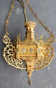 + Nice Antique Ornate Gothic Hanging Brass Sanctuary Lamp + Church + Mg47