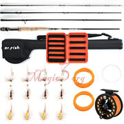 Fly Fishing Rod Reel Combo Compelete Kit 9ft Line Leader Fry Files Case Portable