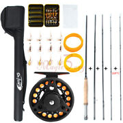 Fly Fishing Rod Reel Combo Compelete Kit Portable 9ft Line Leader 20 Fry Files