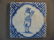 Antique Dutch Tile Musketeer Soldier Wavy Framing 17th -- Free Shipping