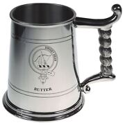 Butter Crest Tankard With Rope Handle In Polished Pewter 1 Pint Capacity