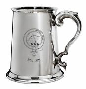Butter Family Crest Polished Pewter 1 Pint Tankard With Scroll Handle