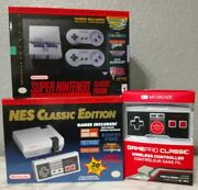 Nintendo Nes Classic And Snes Classic Edition Bundle + Wireless Controller In Hand