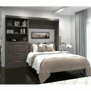 Bestar Pur 95 Full Wall Bed With Storage In Bark Gray